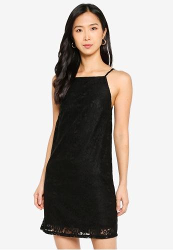 ZALORA BASICS black Straight Neck Lace Shift Dress B9C75AA584A653GS_1