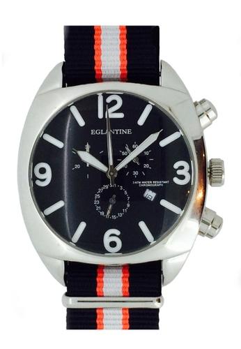 EGLANTINE silver EGLANTINE® XXL Big Bubble Men's Stainless Steel Quartz Chrono Watch Black Dial on Nato Strap 87ABDAC00B1777GS_1