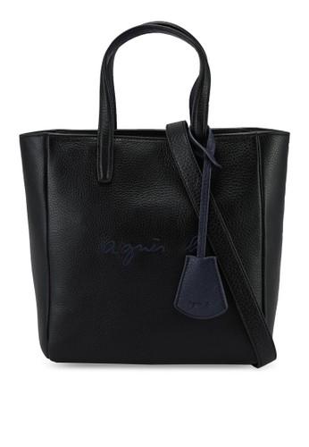 agnès b. black Logo Embroidery Tote Bag B8E50AC09AAF2CGS_1
