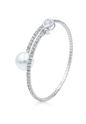 SO SEOUL silver Everleigh Perfume Diamond Simulant with White Pearl Open Bangle 08590AC9A0B1DDGS_1