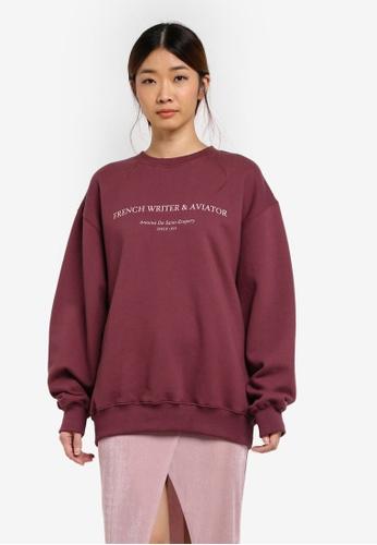 Stylenanda red Contrast Lettering Print Loose Sweatshirt 16454AA6EFE632GS_1