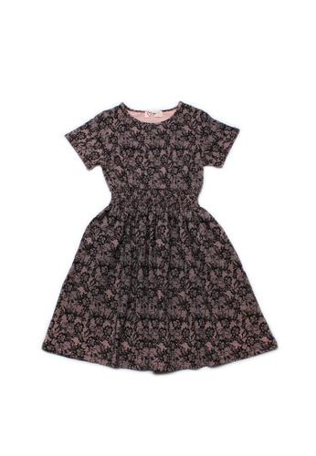 Mini Moley black Floral Mesh Print Girl's Skater Dress A8473KA1E8AD59GS_1
