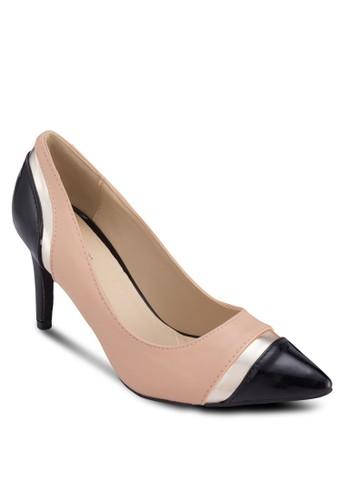 Rina 撞色拼esprit地址接尖頭高跟鞋, 女鞋, 鞋