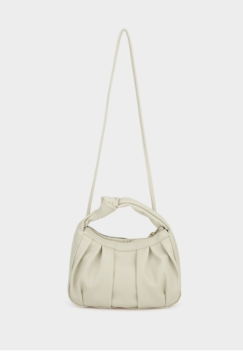 Pomelo white Knotted Pleat Cross Body Bag - Off-White BD333ACDA56241GS_1