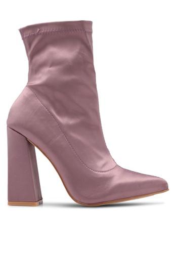 Public Desire 紫色 綢緞粗跟襪套踝靴 03B52SH01CA09CGS_1