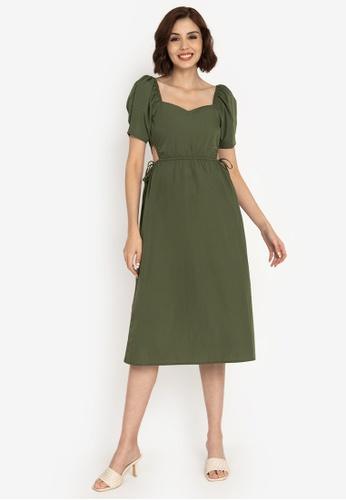 ZALORA BASICS green Ruffle Sleeve Midi Dress with Sash 12527AADB0D152GS_1