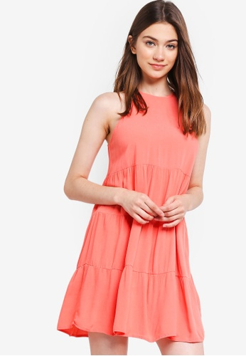Something Borrowed orange Tiered Sleeveless Babydoll Dress DFF2EAA6D22B45GS_1