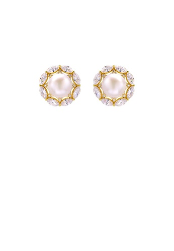 Glamorousky white 925 Sterling Silver Plated Gold Elegant Geometric Round Freshwater Pearl Stud Earrings with Cubic Zirconia 6B0CBAC0FF7E4BGS_1