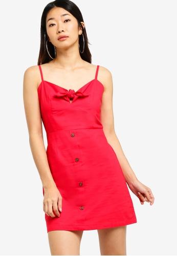 Something Borrowed red Linen A-Line Tie Dress 9C9CFAA19ED10FGS_1