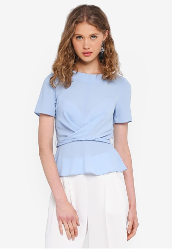 Miss Selfridge blue Blue Twist Tie Back Tee DB0DEAA75F2CE9GS_1