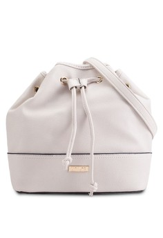 Pebbled Contrast Edge Classic Bucket Bag