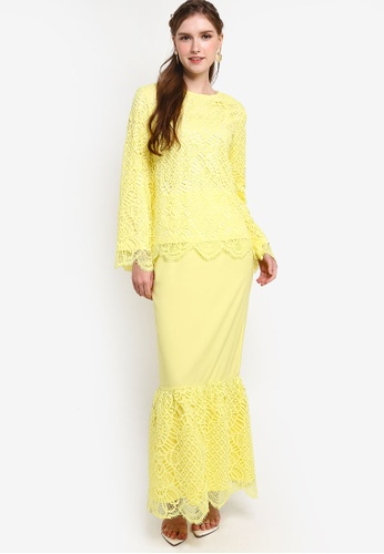 Lubna yellow Lace Wide Sleeves Kurung 5FDBFAAE945DF9GS_1
