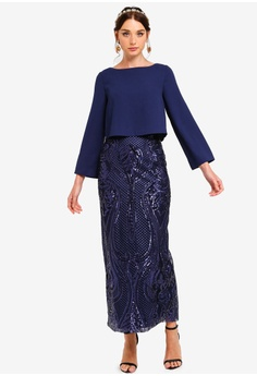 4db1138e837 Zalia blue and navy Placement Sequin Double Layer Column Dress  65580AA13C5951GS_1