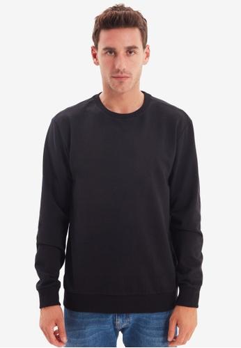 Trendyol black Long Sleeve Basic Sweatshirt 22C1DAAED449D5GS_1