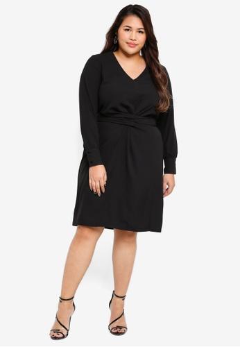 Only CARMAKOMA black Plus Size Sago Long Sleeve Knee Dress F641BAA30FCBD1GS_1