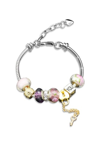 Her Jewellery silver Colorful Charm Bracelet (Pink) - Licensed Genuine Crystals from Swarovski® HE581AC0RCCMMY_1