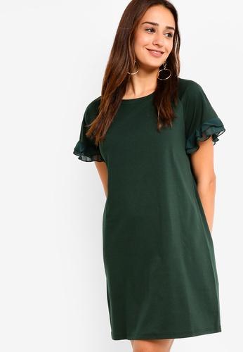 ZALORA green Ruffled Sleeves Shift Dress 0220EAA5A27F33GS_1