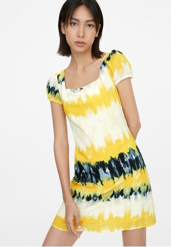 Pomelo yellow Puffed Sleeves Tie Dye Dress - Yellow E8D7AAAA4779DFGS_1