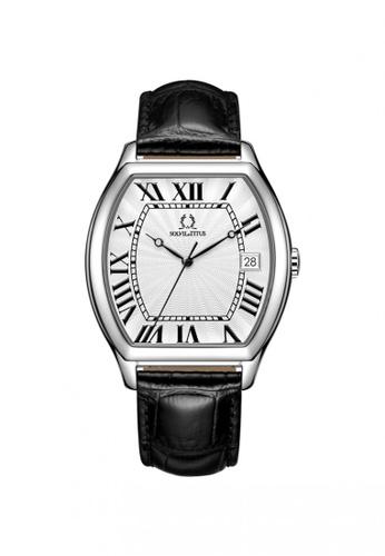 Solvil et Titus black Barista Men's 3 Hands Date Quartz Watch in Silver White Dial and Black Leather Strap 4A7A5ACE23170CGS_1