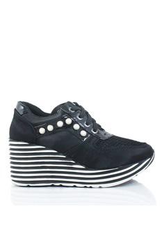 fc2426ab901 GOSH black Ravenna-273 Stripes Wedges Sneakers FB983SHE3BD94DGS 1