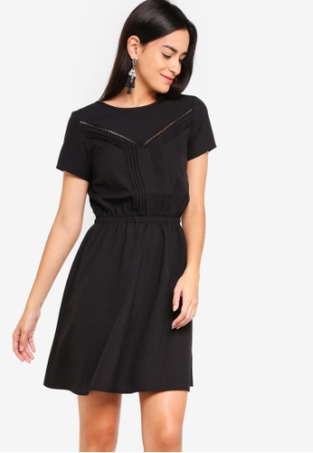 ZALORA black Fit And Flare Lace Dress With Pin Stripes 1FD4EAA4E82126GS_1