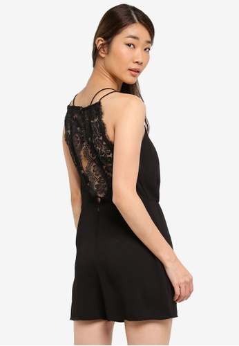 Miss Selfridge black Lace Back Playsuit B6D7FAA7A01E89GS_1