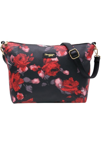 STRAWBERRY QUEEN 黑色 and 紅色 Strawberry Queen Flamingo Sling Bag (Floral AR, Black) B5E2AACAC5040FGS_1