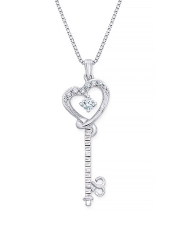 MaBelle silver 18K/750 White Gold Diamond Key Heart Pendant With Free Silver Necklace 293C9AC216A97EGS_1