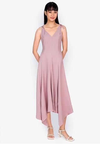 ZALORA BASICS pink Asymmetric Midi Dress 3AA00AAFAE9EF3GS_1