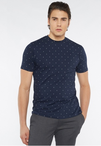 Août navy Août - Mens Printed Essential Crew Neck Cotton T-shirt C9C9EAA704840CGS_1