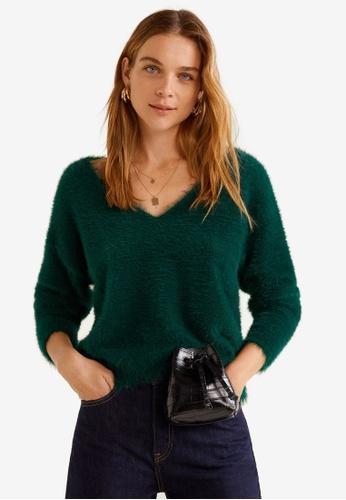 Mango green Faux Fur Knit Sweater 9B505AA50C1F38GS_1
