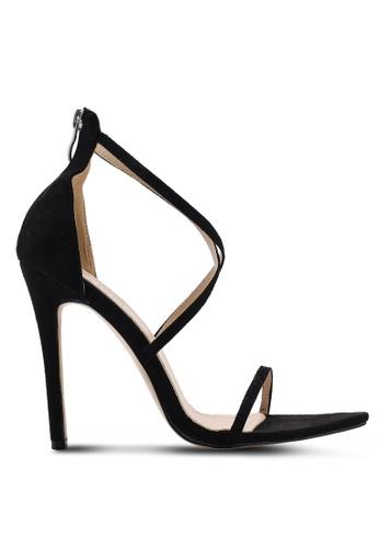 Public Desire 黑色 Quartz 交叉繞帶高跟鞋 1C1C7SH5661804GS_1
