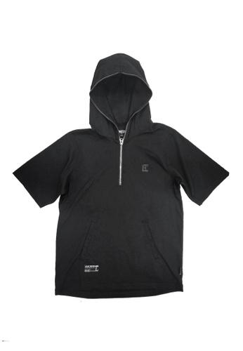 L.I.M.I.T.E black Printed woven zipper detail hoodie F4AB0AAF3663ECGS_1