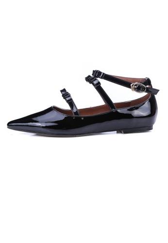Sunnydaysweety black New Bow Buckle Leather Flat Shoes UA03012 SU443SH81LXAHK_1