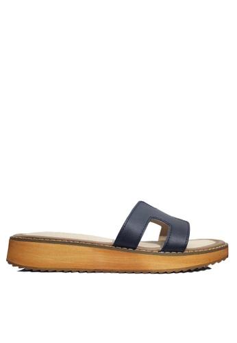 Twenty Eight Shoes 黑色 真皮厚底拖鞋 VS66610 F0A82SHA9810BDGS_1
