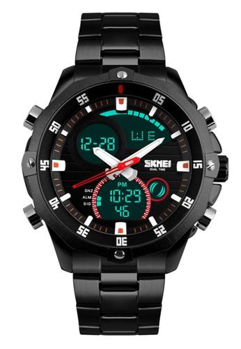 Skmei black SKMEI 1146 Men's Military Sport Dual Movement Digital LED Calendar Alarm Stainless Steel Watch (Black) SK707AC0RXD1MY_1