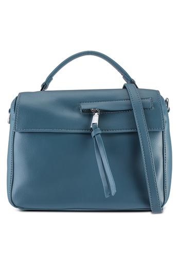 Unisa blue Faux Leather Convertible Top Handle Bag C7AADACDE4CA94GS_1