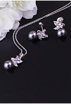 Acantha Silver Earrings and Necklace