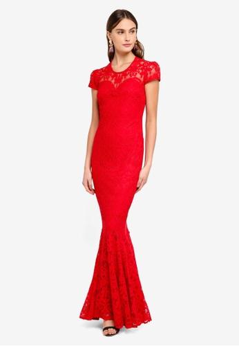Goddiva 紅色 蕾絲長洋裝 C4222AA0487095GS_1