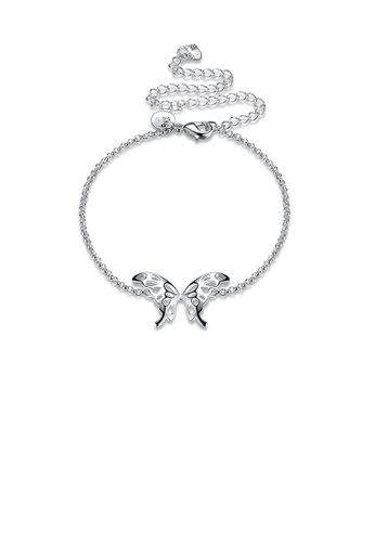 Glamorousky silver Fashion Simple Hollow Butterfly Anklets 973F6AC19BA0F4GS_1