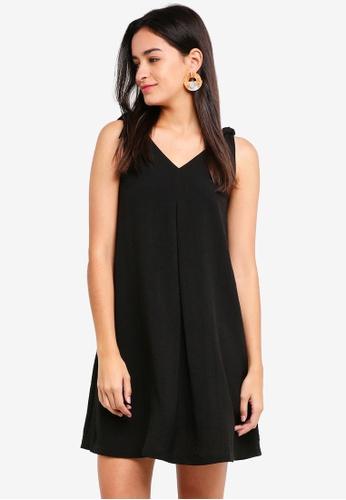 ZALORA black Tie Detail A-Line Strap Dress 2271AAA301876DGS_1
