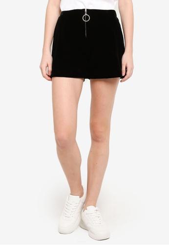 Hopeshow black High Waist Shorts With Zip Detail 31D7EAAA7685D3GS_1