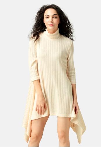 London Rag beige Long Sleeve Irregular Hem Sweater Dress 70BCBAA2526A70GS_1