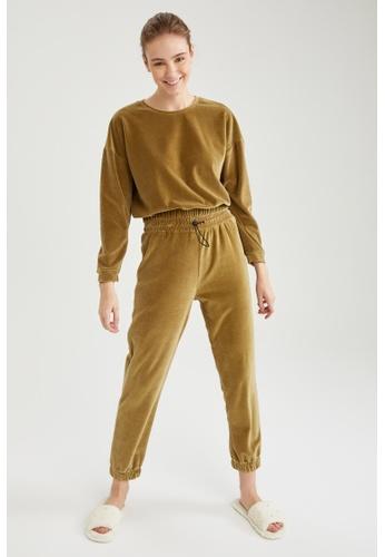 DeFacto green Velvet Jogger Sweatpants A1051AAE03B862GS_1