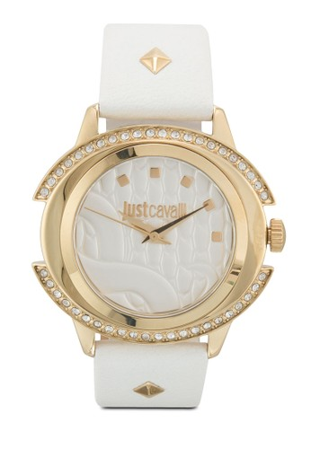 R7251216504 Just Decor 鉚釘皮革圓錶, 錶類, 飾esprit 童裝品配件
