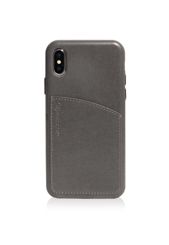 promo code 3ed62 889f3 POSH - FAUX LEATHER HARD CASE WITH POCKET FOR IPHONE X - CHARCOAL