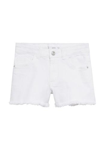 MANGO KIDS white Frayed Hem Denim Shorts 1A806KA2C67135GS_1