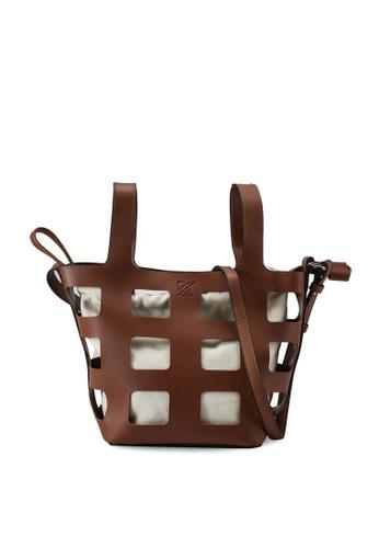 Keddo white and brown Rosalinda Sling Bag 2EB2BAC0C43305GS_1