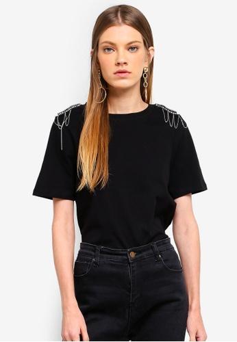River Island black Diamante Embellished Shoulder T-Shirt E6748AA05939C9GS_1