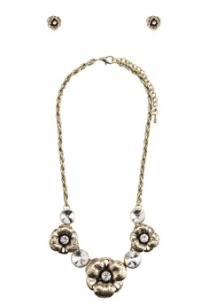 Antique Gold Flower Necklace and Earrings Set